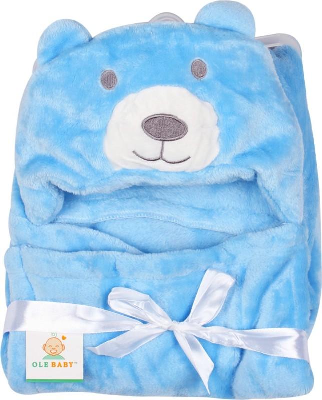 Ole Baby Plain Single Blanket Blue(1 Ole Baby Hooded Mink Blanket)