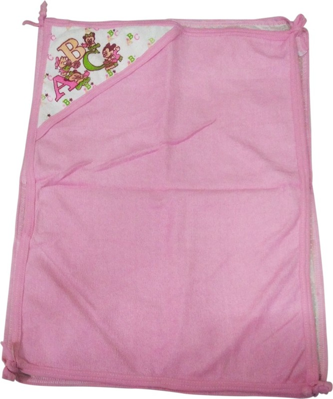 Golddust Floral Single Hooded Baby Blanket(Microfiber, Pink)