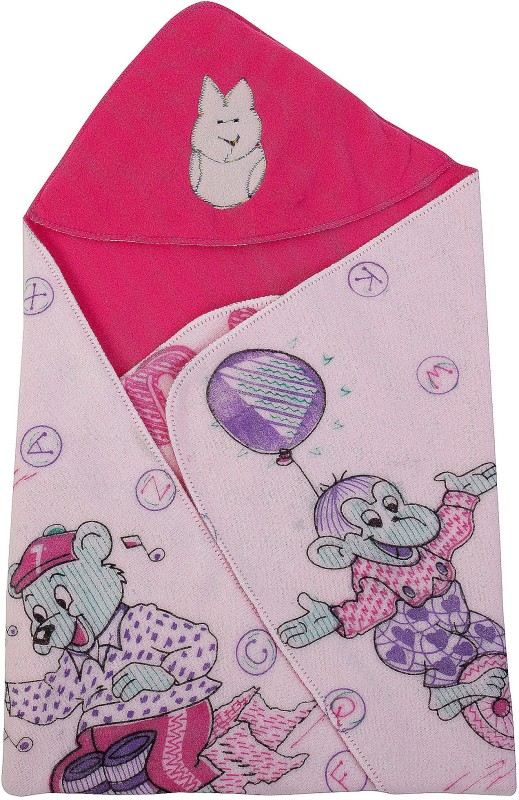 Utc Garments Cartoon Single Hooded Baby Blanket(Microfiber, Darkpink, Purple, Red, Green, Blue, Pink, Orange)