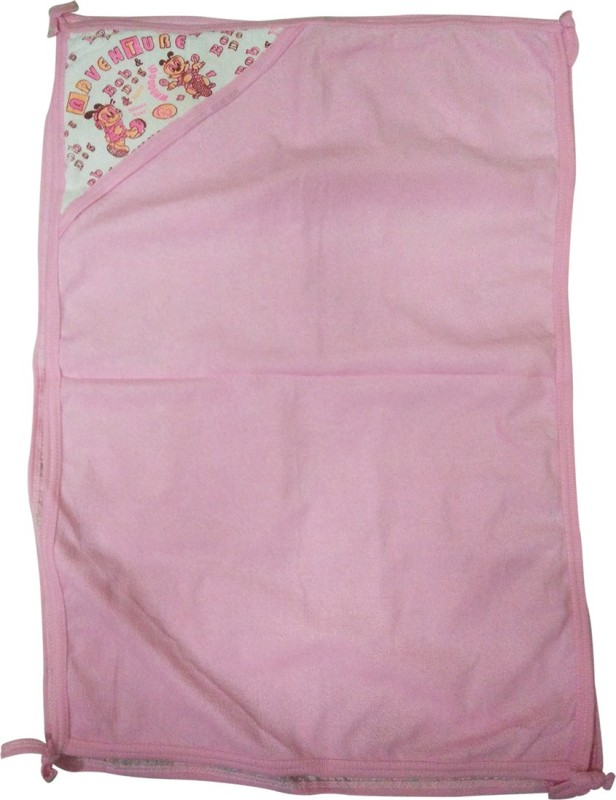 Golddust Floral Double Hooded Baby Blanket(Microfiber, Pink)