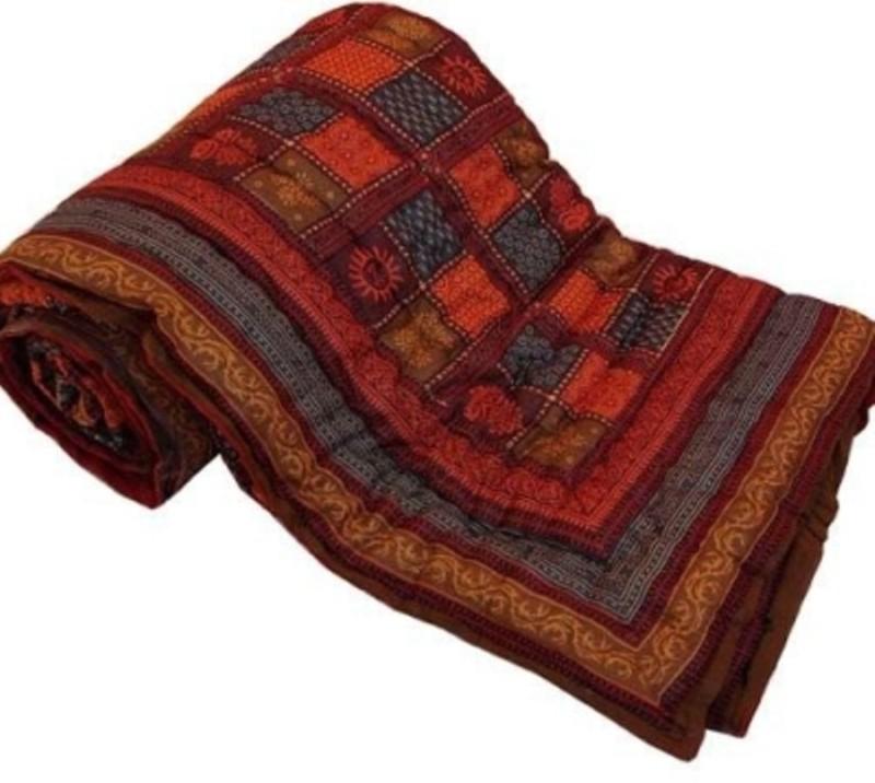 Bajya Jaipuri Razai Checkered Single Quilts & Comforters Multicolor(1 Quilt)