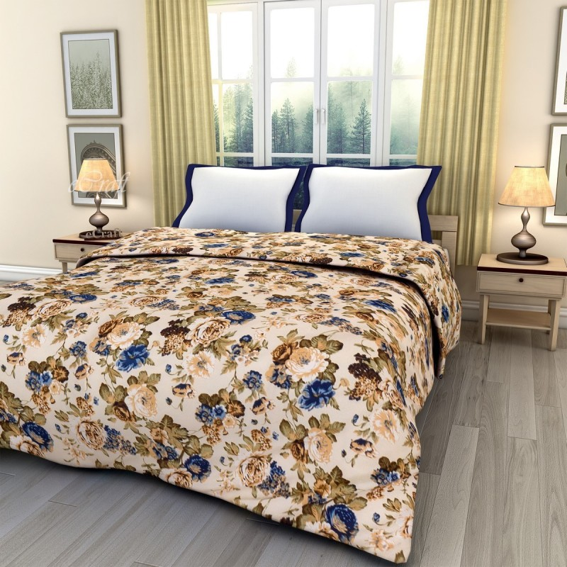 eCraftIndia Floral Double Blanket Blue, Green and White(AC Blanket, One...