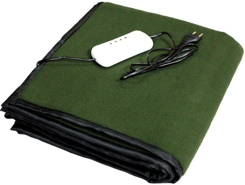 LeoSpark Plain Single Electric Blanket(Polyester, Green)