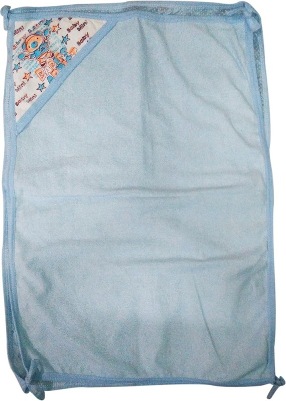 Golddust Floral Double Hooded Baby Blanket(Microfiber, Blue)