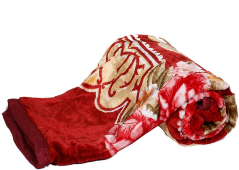 IndiStar Floral Single Blanket Red, Multicolor(Pack of 1 Single Bed...