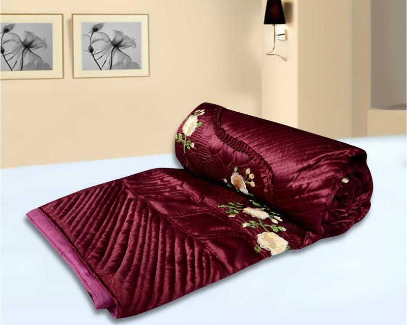 El Sandalo Floral Double Quilts & Comforters Maroon(1 Quilt)