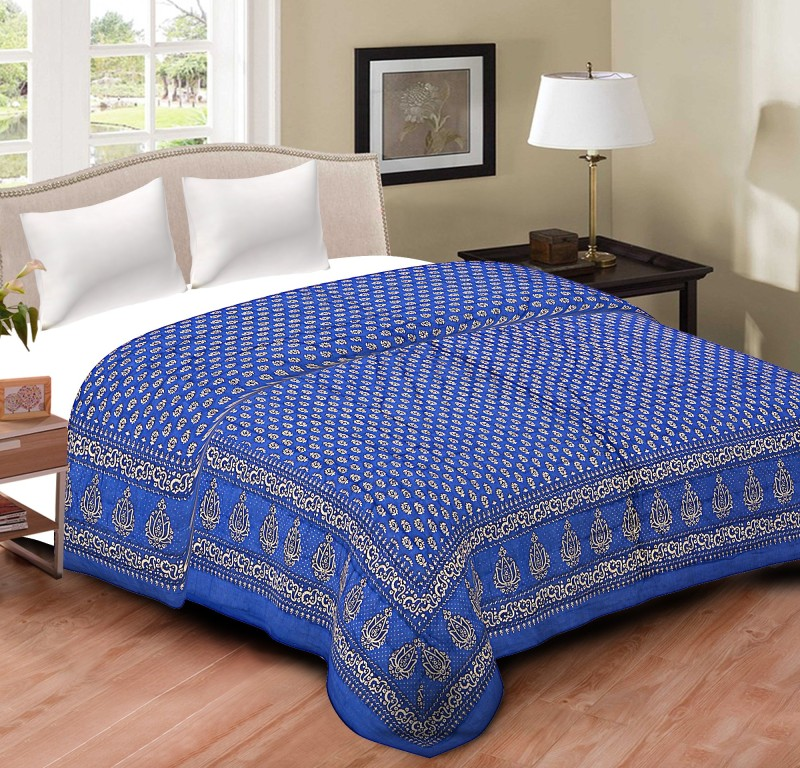 Spangle Printed Double Quilts & Comforters Royal Blue(1 Double Bed...