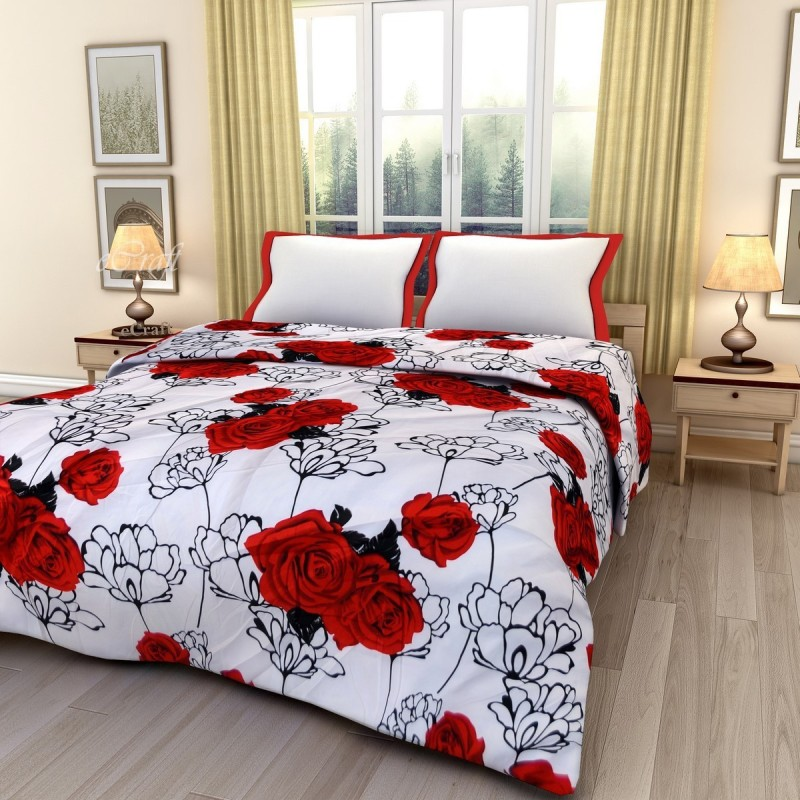 eCraftIndia Floral Double Blanket Red, Black and White(AC Blanket, One...