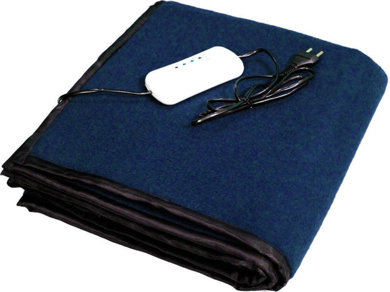 LeoSpark Plain Single Electric Blanket(Polyester, Blue)