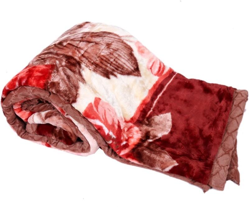 IndiStar Floral Double Blanket Brown(Mink Blanket, Blanket)