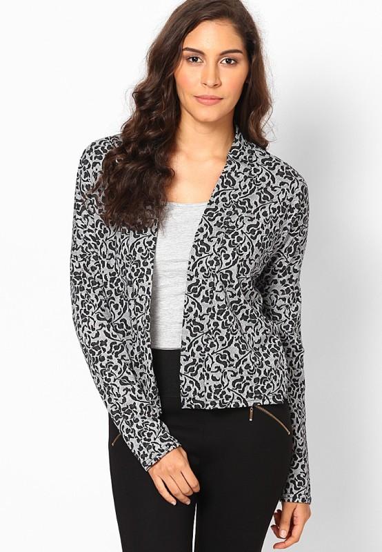 Vero Moda Printed Single Breasted Casual Women's Blazer(Grey, Black)