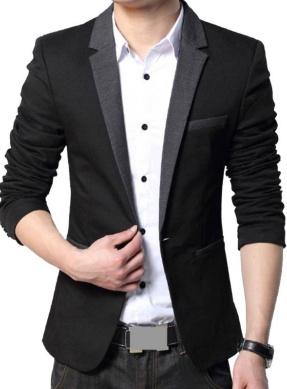 Beetle Solid Single Breasted Party Men's Blazer(Black)