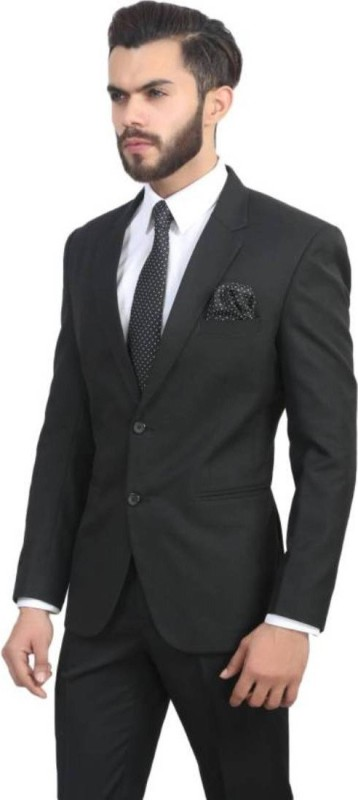 Whimsical Solid Single Breasted Formal, Party, Wedding, Festive Men's Blazer(Black)