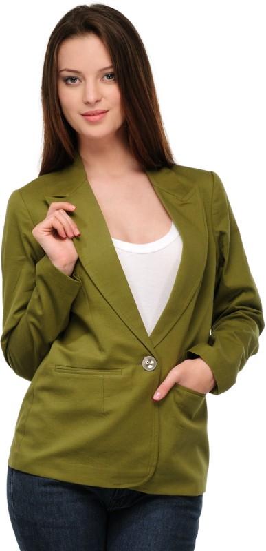 Stilestreet Solid Single Breasted Casual Women's Blazer(Green)