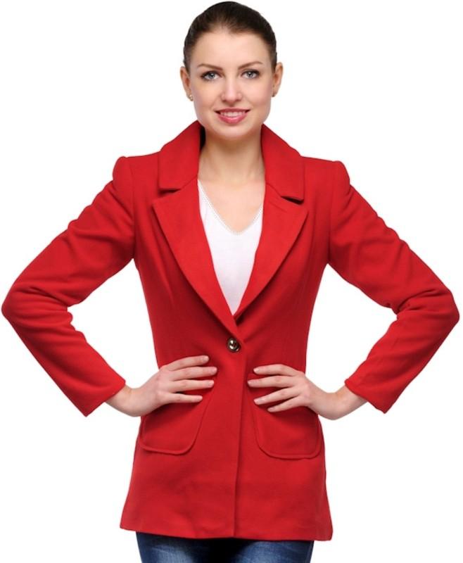 Stilestreet Solid Single Breasted Casual Women's Blazer(Red)