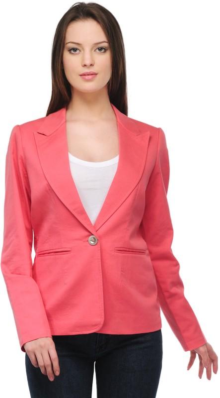 Stilestreet Solid Single Breasted Casual Women's Blazer(Pink)