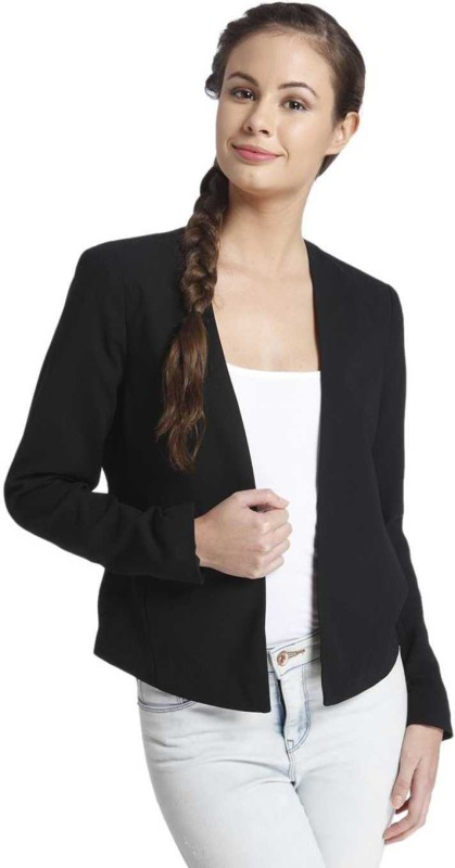 Only Solid Single Breasted Casual Womens Blazer(Black)
