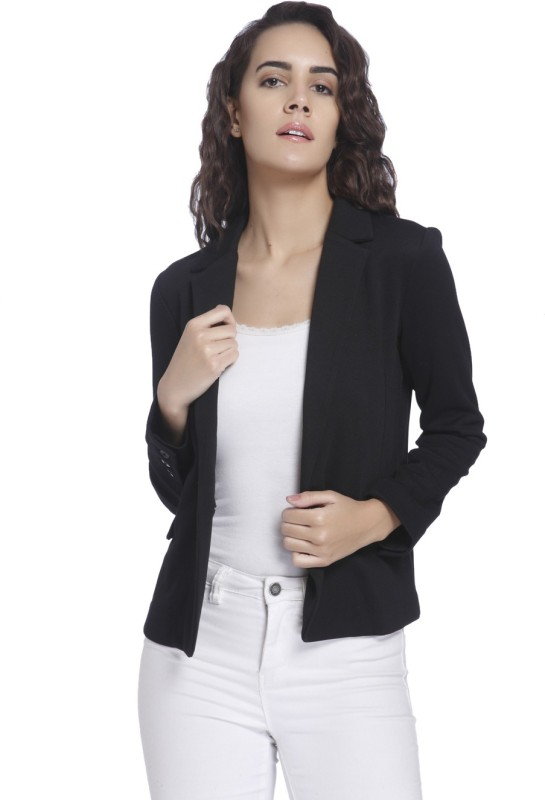 Vero Moda Solid Single Breasted Casual Womens Blazer(Black)