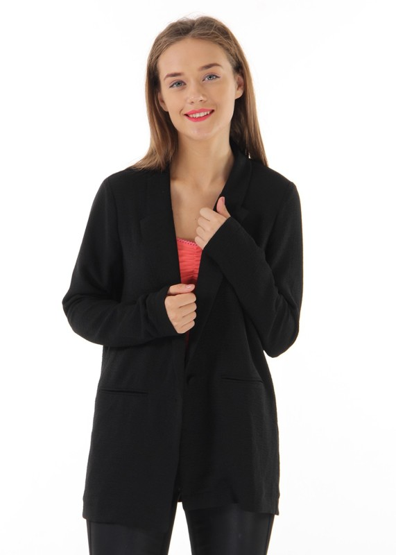 Only Solid Tuxedo Style Casual Womens Blazer(Black)