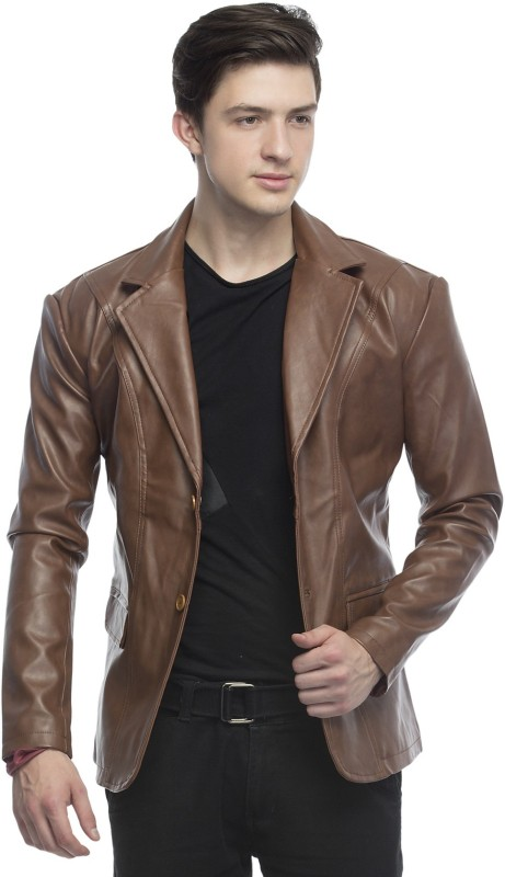 Emblazon Collection Solid Single Breasted Casual Men's Blazer(Brown)