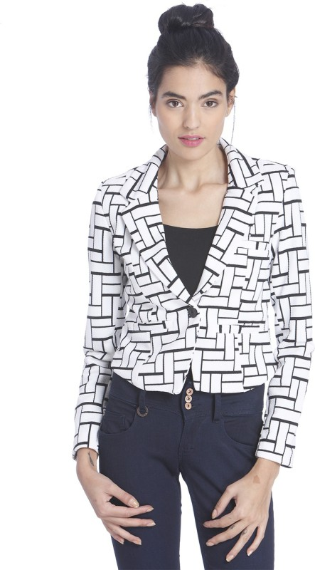 Only Printed Single Breasted Casual Women's Blazer(White)