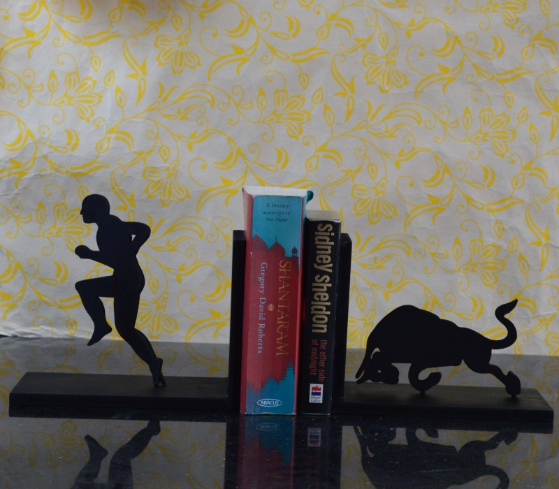 eCraftIndia Wooden Book End(Black, Pack of 1)