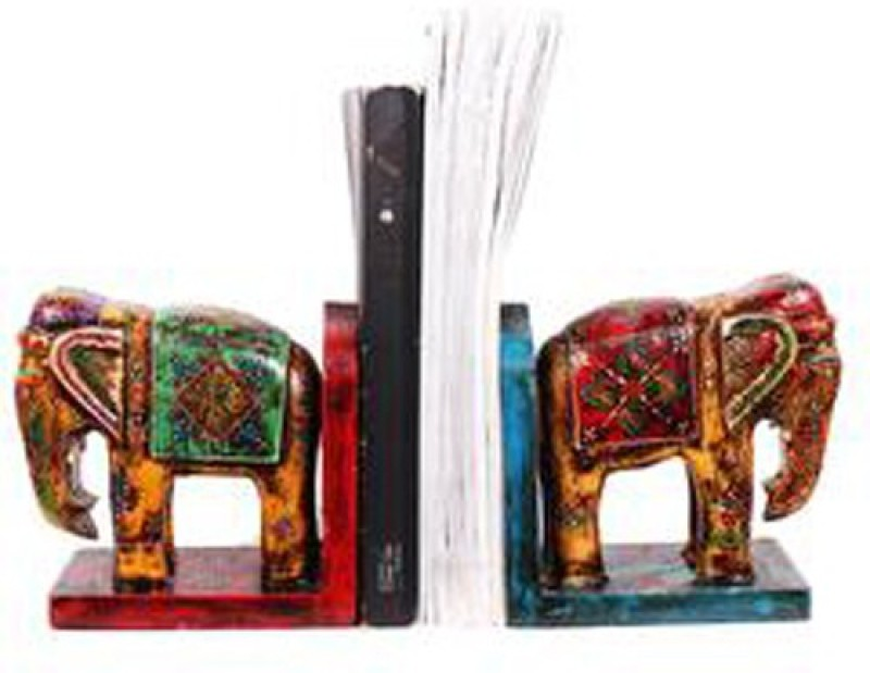 Purpledip Handmade Indian Royal Elephant Bookends Wood Book End(Multicolor, Pack of 1)