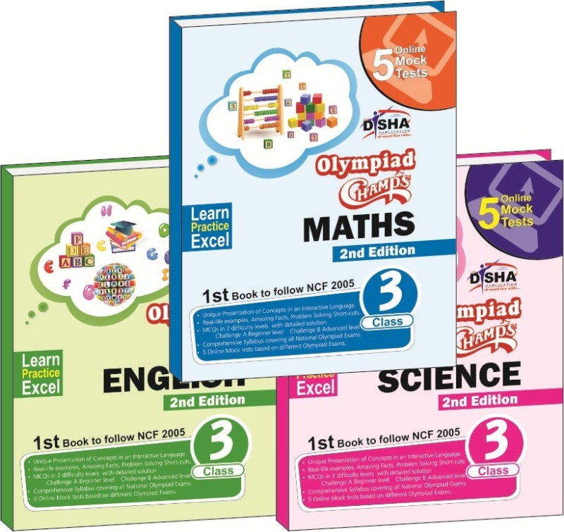 Olympiad Champs Science, Mathematics, English Class 3 with 15 Online Mock Tests 2nd Edition (set of 3 books) 2 Edition(English, Text, Disha Experts)