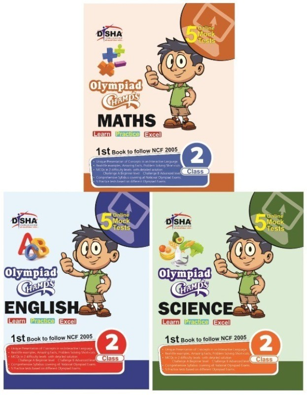 Olympiad Champs Science, Mathematics, English Class 2 with 15 Online Mock Tests (set of 3 books) 1 Edition(English, Paperback, Disha Experts)