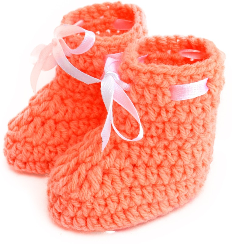 Love Crochet Art Booties(Toe to Heel Length - 8 cm, Orange)