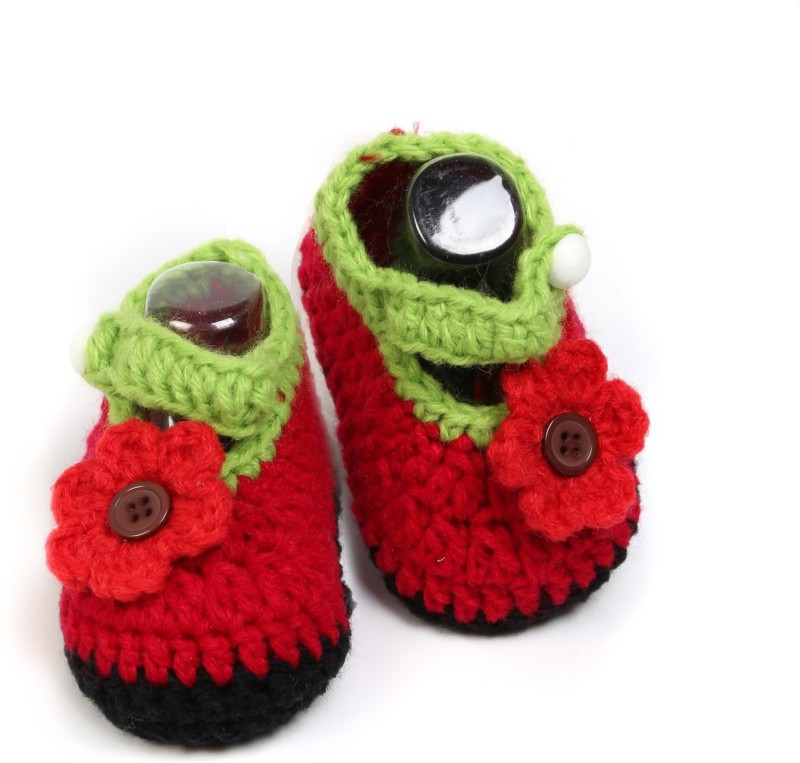 Babyoodles Booties(Toe to Heel Length - 10 cm, deep red)