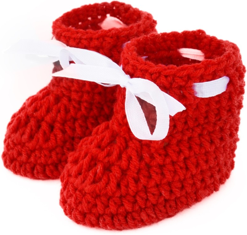 Love Crochet Art Booties(Toe to Heel Length - 10 cm, Red)