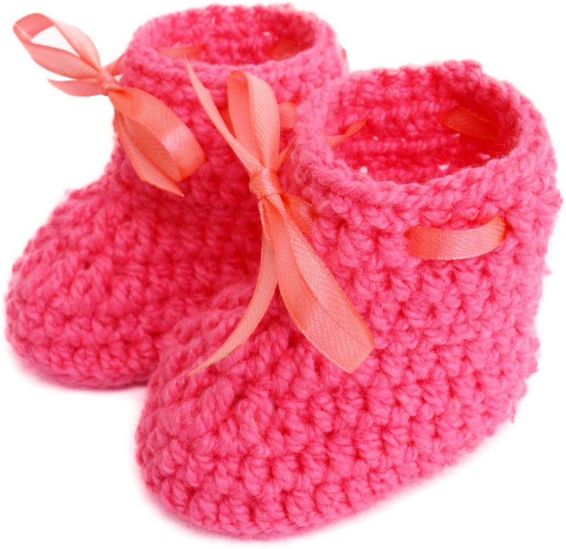 Love Crochet Art Booties(Toe to Heel Length - 7 cm, Pink)