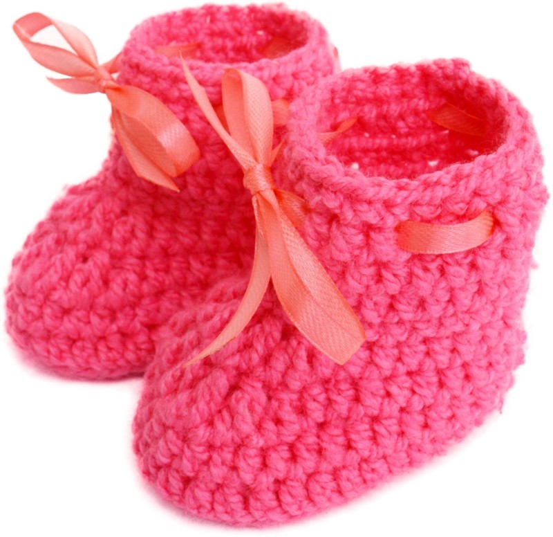 Love Crochet Art Booties(Toe to Heel Length - 9 cm, Pink)