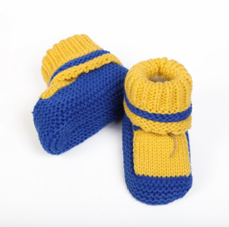 Babyoodles Booties(Toe to Heel Length - 10 cm, Yellow)