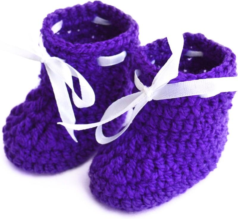 Love Crochet Art Booties(Toe to Heel Length - 9 cm, Blue)