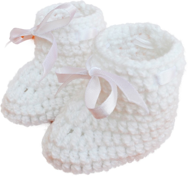 Love Crochet Art Booties(Toe to Heel Length - 10 cm, White)