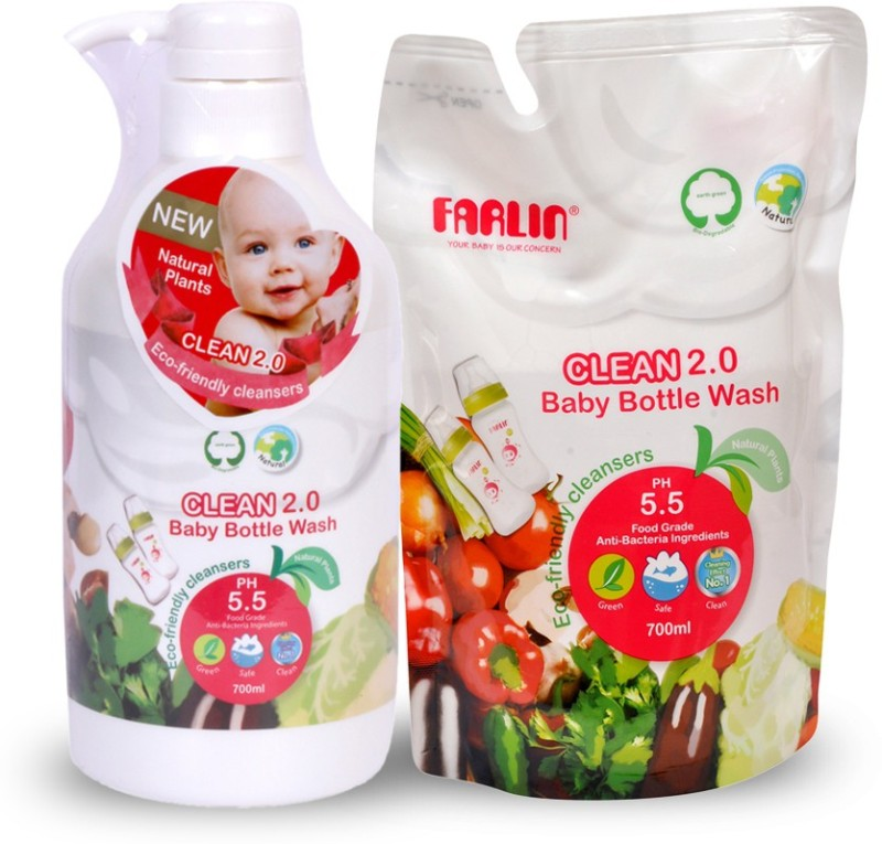 Farlin Eco Friendly Baby Liquid Cleanser (COMBO BOTTLE & REFILE )(White)