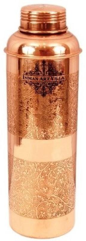 IndianArtVilla Copper Handmade Embossed Bottle - Drinkware Home Hotel Restaurant Good Health Benefit Yoga Ayurveda 800 ml Bottle(Pack of 1, Brown)