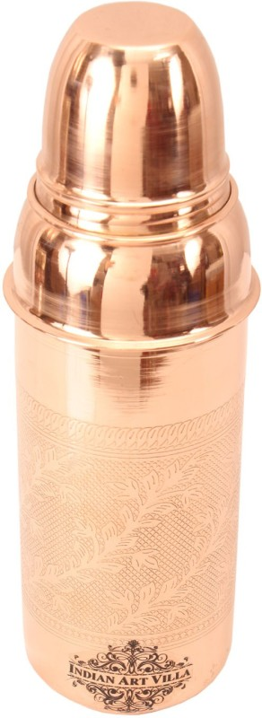 IndianArtVilla Copper Embossed Thermos Design Bottle 800 ml Bottle, Flask(Pack of 1, Brown)