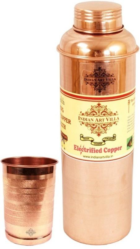 IndianArtVilla 1 Pure Copper Bisleri Design Bottle with 1 Copper Glass 1000 ml Bottle, Flask(Pack of 2, Brown)