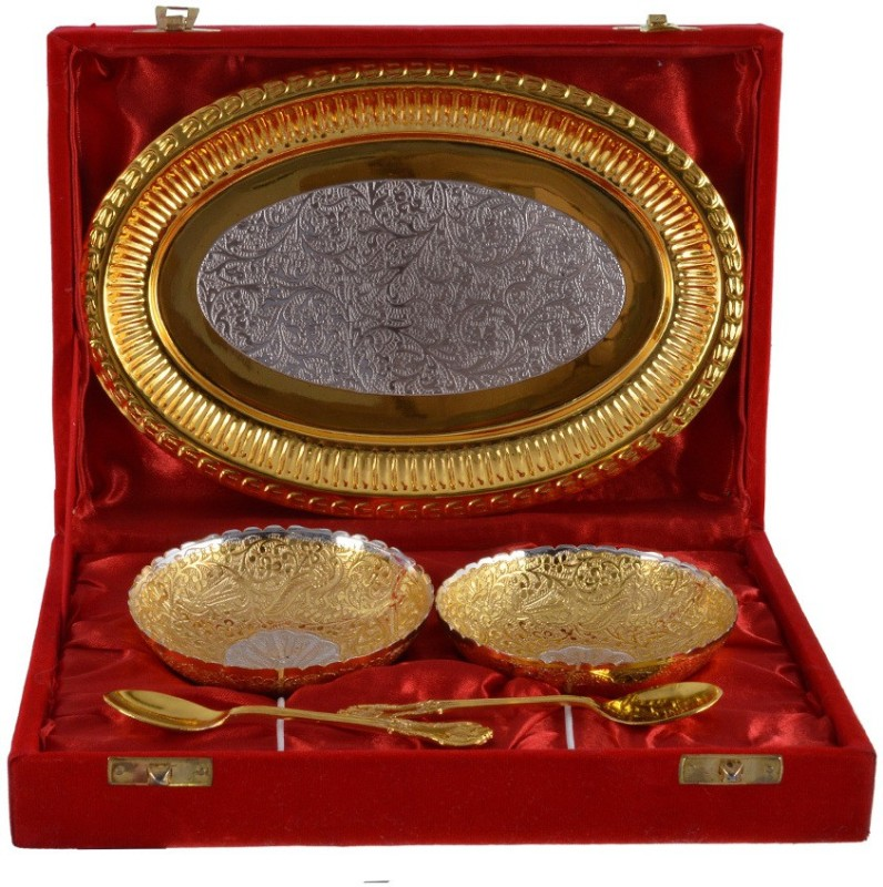 The Art Box Gold Plated Bowl Spoon Tray Serving Set(Pack of 5)