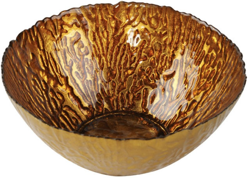 Foyer Glass Bowl(Gold, Pack of 1)