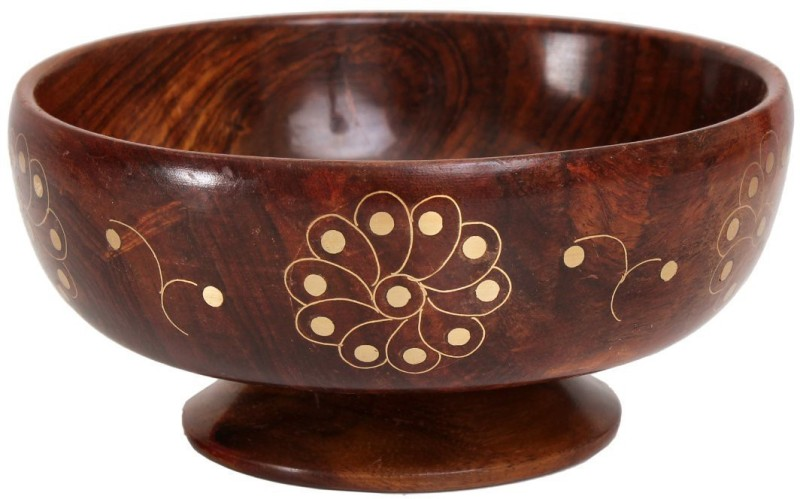 Store Indya Stylish Serving Wooden Bowl(Brown, Pack of 1)