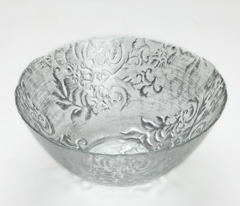 Foyer Glass Bowl(Silver, Pack of 1)