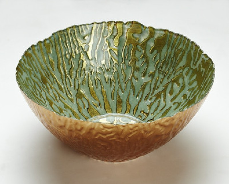 Foyer Glass Bowl(Green, Gold, Pack of 1)