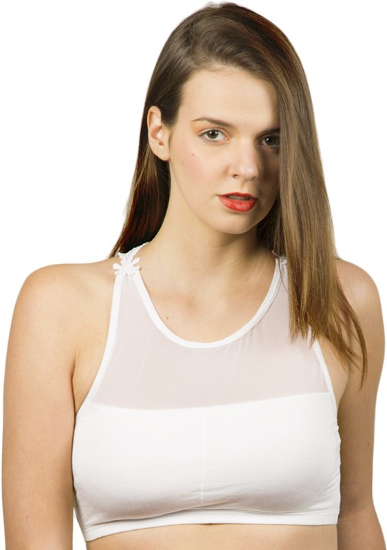 The Bling Stores Cut Work Racer Back Trendy White Crop Top Women Sports Bra(White)