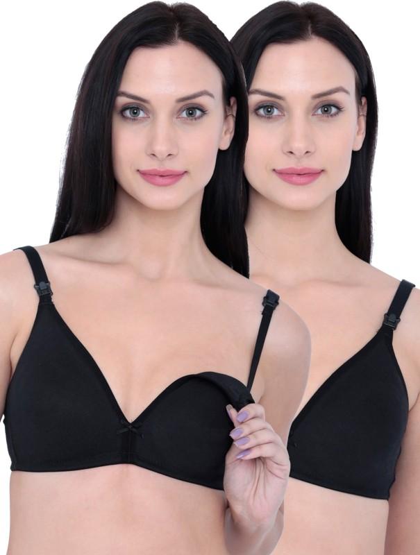 Inner Sense Womens Nursing Non Padded Bra(Black)