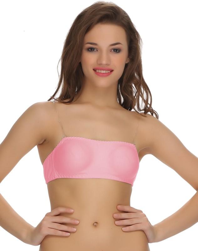Clovia Tube Bra With Detachable Transparent Straps Women Tube Non Padded Bra(Pink)