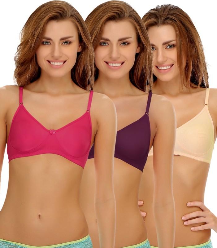 Clovia Clovia Pack Of 3 Non Padded Wirefree Bra In Cotton Blend Women Full Coverage Non Padded Bra(Multicolor)